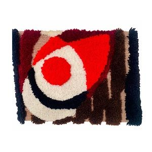 Mid Century Modern LatchHook Abstract Wall Hanging